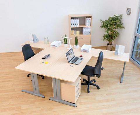 L-Fuss Schreibtisch Hoehe 72-82 cm verstellbar Platte 160 x 80 cm-3