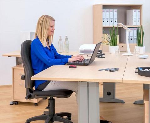L-Fuss Schreibtisch Hoehe 72-82 cm verstellbar Platte 160 x 80 cm-5