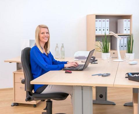 L-Fuss Schreibtisch Hoehe 72-82 cm verstellbar Platte 180 x 80 cm-2