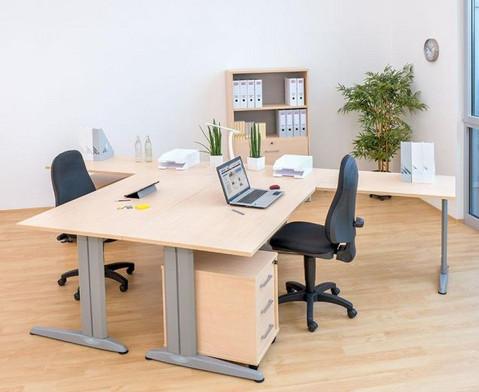 L-Fuss Schreibtisch Hoehe 72-82 cm verstellbar Platte 180 x 80 cm-3