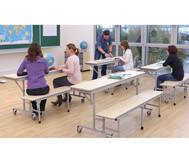 Tisch-Bank-Kombination, 4 - 5 Sitzplätze, Tischhöhe 69 cm