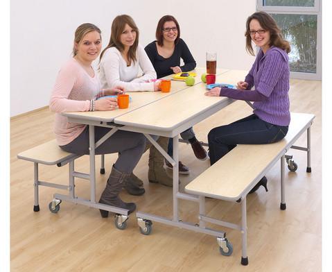 Tisch-Bank-Kombination 4-5 Sitzplaetze Tischhoehe 74 cm