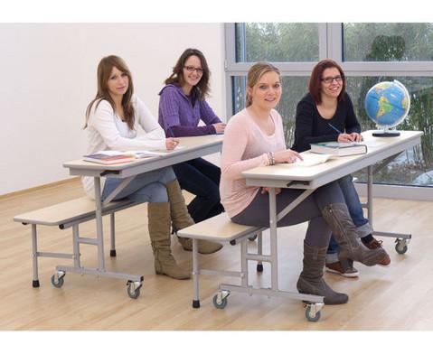 Tisch-Bank-Kombination 5 - 6 Sitzplaetze Tischhoehe 69 cm-4