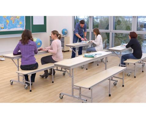 Tisch-Bank-Kombination 5-6 Sitzplaetze Tischhoehe 74 cm