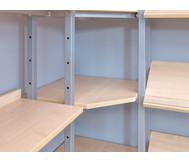 Eckteil zum Bücherregal zur Verbindung einseitiger Wandregale