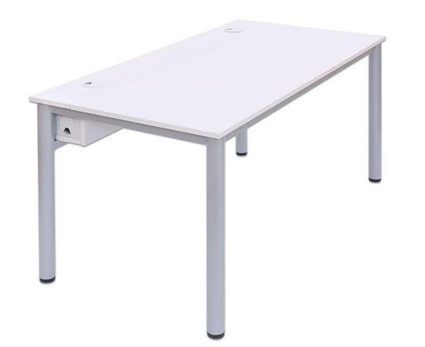 EDV-Tisch mit Kabelkanal Rundrohr Tischbeine BxT 160x80 cm