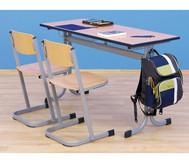 Schüler-Zweier-Tisch, 130 x 55 cm, Tischhöhe 64 cm