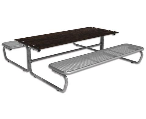 Outdoor Grande Tisch-Sitz-Kombination mit 6-8 Sitz plaetzen Massivplatte
