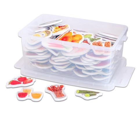 Magnetische Lebensmittel-Bilder in Kunststoffbox
