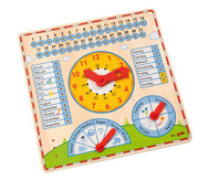 Kalendertafel mit Uhr