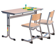 Zweier-Schülertisch mit C-Fuß, höhenverstellbar, 130 x 55 cm