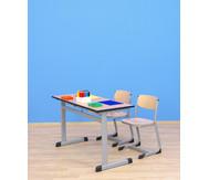 Zweier-Schülertisch mit L-Fuß, 130 x 55 cm