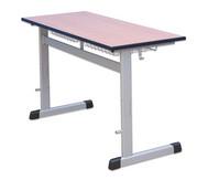 Zweier-Schülertisch mit L-Fuß, höhenverstellbar, 130 x 55 cm