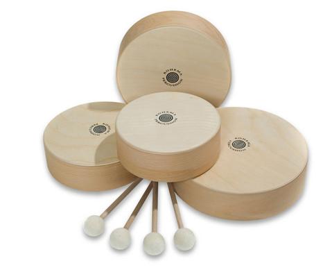 Sparset mit 4 Holz-Tamburinen