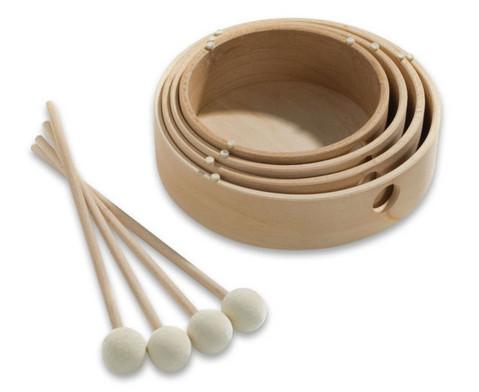 Sparset mit 4 Holz-Tamburinen-2