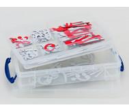 Haft-Notensatz weiß/rot in praktischer Transparentbox