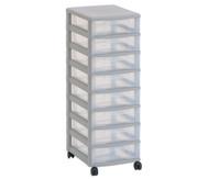 Flexeo Rollcontainer mit 8 kleinen Boxen H x B x T: 86 x 30 x 38 cm