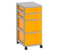 Flexeo Rollcontainer mit 3 großen 2 kleinen Boxen HxBxT: 66x30x38 cm