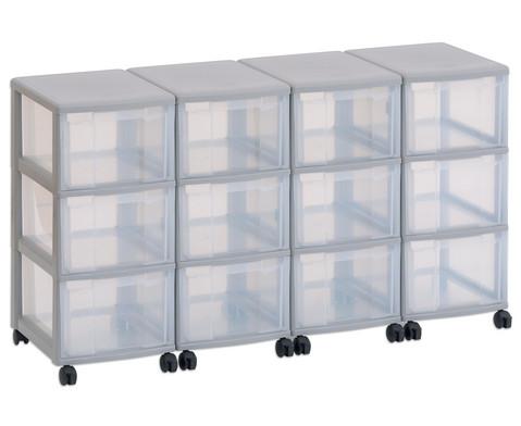 Flexeo Container-System 4 Reihen 12 grosse Boxen HxBxT 66x120x38 cm