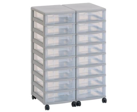 Flexeo Container-System 2 Reihen 16 kleine Boxen