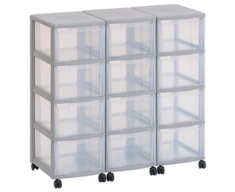 Flexeo Container-System 3 Reihen 12 Boxen H x B x T 86 x 90 x 38 cm
