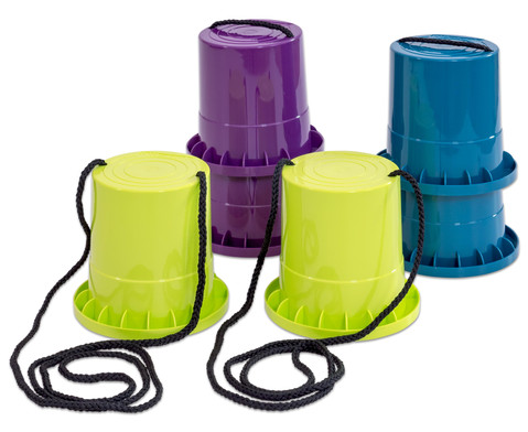 Laufstelzen Satz mit 3 Paar  lila - limette - petrol