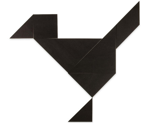 Riesen-Tangram-Teile aus Kunststoff schwarz in Box