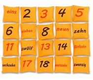 Zahlen auf Bohnensäckchen