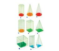 10 geometrische Körper, davon 9 mit beweglichen Höhenfäden