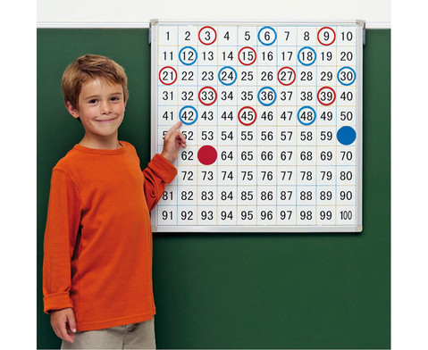 Magnethaftende Tafel mit aufgedrucktem Hunderterfeld-1