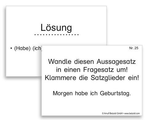 Lern- und UEbungskartei Satzglieder DIN A8-5