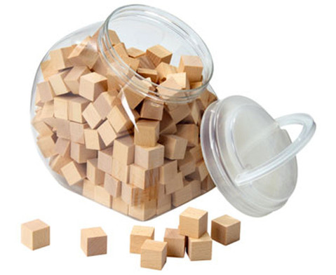 150 Holzwuerfel naturbelassen mit Behaelter-1