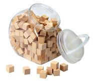 150 Holzwürfel, naturbelassen, mit Behälter