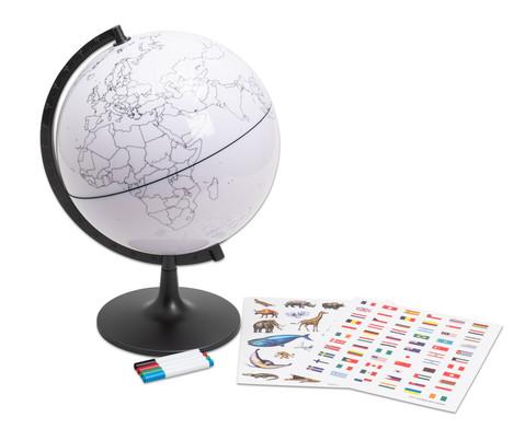 Globus mit Umrissen der Erdteile und der Laender