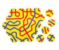 Streckenpuzzle mit 18 sechseckigen Karten