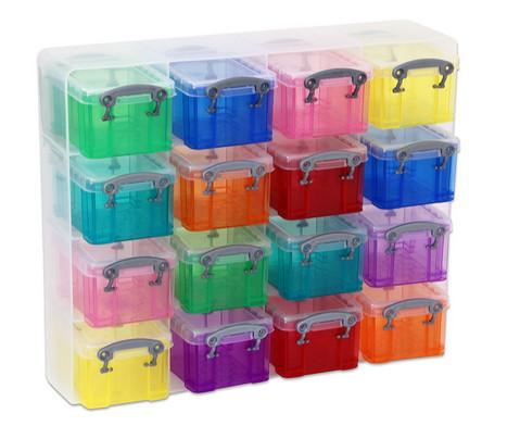 16 bunte Sortierboxen im Transparentschuber