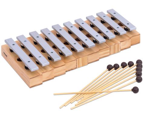Satz mit 10 Sopran-Klangbausteinen und 10 Schlaegeln Leichtmetall-2