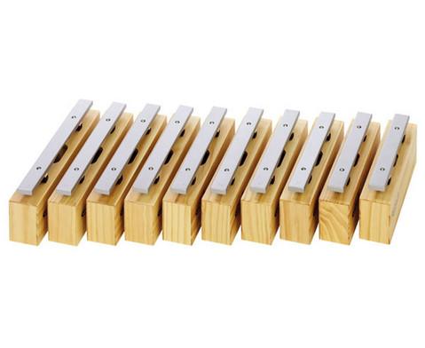 Satz mit 10 Alt-Klangbausteinen und 10 Schlaegeln Leichtmetall-1