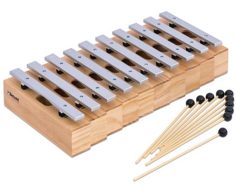 Satz mit 10 Alt-Klangbausteinen und 10 Schlaegeln Leichtmetall-2