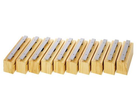 Satz mit 10 Bass-Klangbausteinen und 10 Schlaegeln Leichtmetall-1