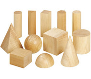 12 Geometriekörper aus Holz