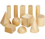 Geometriekörper aus Holz, 12 Stück