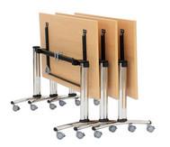 Säulentisch, klappbar, fahrbar, 4 feststellbare Rollen, Höhe: 73,5 cm, 25mm Tischplatte, Maße: 140 x 70 cm