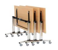 Säulentisch, klappbar, fahrbar, 4 feststellbare Rollen, Höhe: 73,5 cm, 25 mm Tischplatte, Maße: 180 x 70 cm