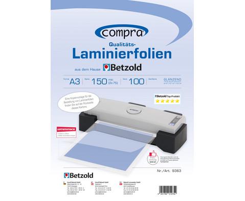 Karton mit 100 Compra Laminierfolien DIN A3 150 mic