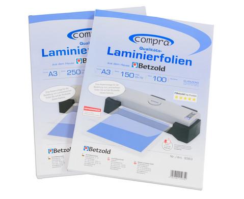 Karton mit 100 Compra Laminierfolien DIN A3 150 mic-6