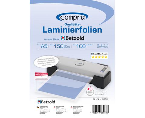 Karton mit 100 Compra Laminierfolien matt DIN A5 150 mic