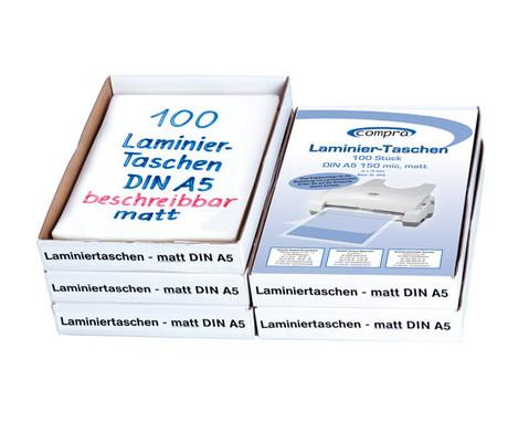 Karton mit 100 Compra Laminiertaschen matt DIN A5 150 mic-2