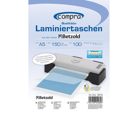 Karton mit 100 Compra Laminiertaschen matt DIN A5 150 mic-1