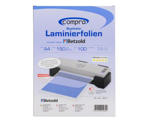 Karton mit 100 Compra Laminierfolien matt DIN A4 150 mic-7